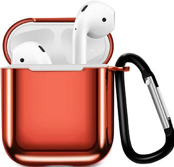 Фото - Чехол для наушников Apple AirPods 1/2 с карабином - Красный (CBAP07R) чехол deppa air case для apple iphone xr красный