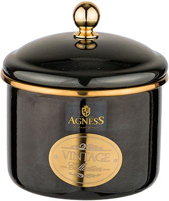 Банка для сыпучих продуктов Agness эмалированная Тюдор 12 х 9см / 1 0 л чёрный металлик 950-259 agness банка для сыпучих продуктов тюдор 950 247 1200 мл белый