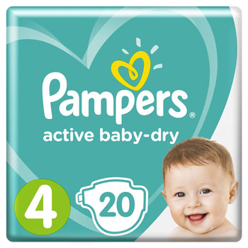 Подгузники Pampers Active Baby-Dry 4 (7-14 кг) 20 шт цена 2017