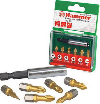 Набор бит Hammer 203-901 PB set No1 (7pcs) Ph/Pz/Sl 7шт.