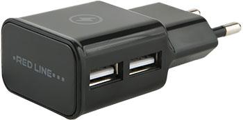 Сетевое зарядное устройство Red Line 2 USB (модель NT-2A) 2.1A черный сетевая зарядка red line nt 2a черный