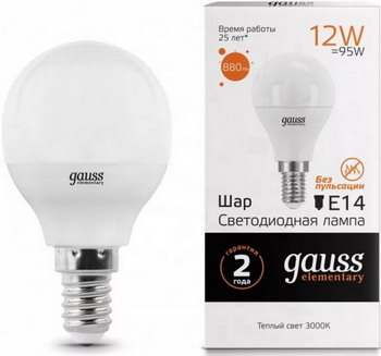 Лампа GAUSS LED Elementary Шар 12 W E 14 3000 K 53112 лампа odeon lg 45 e 14 w7 e 14 g 45 7w 3000 k