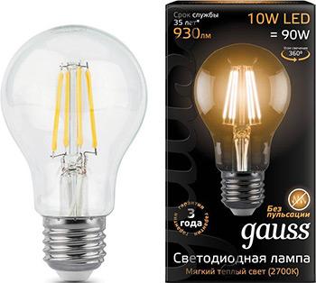 Лампа GAUSS LED Filament A 60 E 27 10 W 930 lm 2700К 1/10/40 102802110 bm 60 3 e