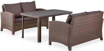 Комплект мебели Афина с диванами (иск. ротанг) 2и1 T 51 A/S 58 A-W 773 Brown afina набор мебели асоль 2в иск ротанг