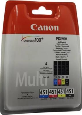Картридж Canon CLI-451 BK/C/M/Y 6524 B 004 Голубой Пурпурный Жёлтый Чёрный картридж canon cli 451 bk 6523b001