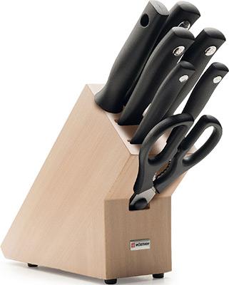 Набор ножей, ножницы и подставка Wuesthof 5 шт.+ ножницы+Мусат 9864 «Silverpoint»