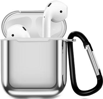 Фото - Чехол для наушников Apple AirPods 1/2 с карабином - Серебристый (CBAP07S) набор посуды maestro jambo apple mr 3501 6l серебристый 6 предметов