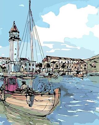 Картина по номерам Цветной ''Приморский город'' (40х50) на подрамнике mg2097