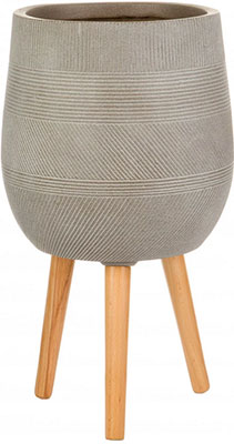Напольный горшок для цветов Идеалист Lite Страйп файберстоун серо-коричневый Д31.5 В43 см 33 л WSTRIPR31-T