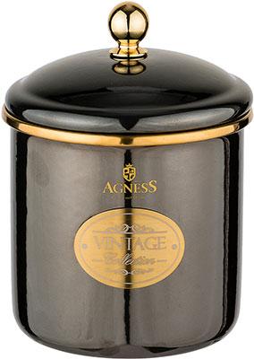 Банка для сыпучих продуктов Agness эмалированная серия Тюдор 12 х 12см / 1 2 л чёрный металлик 950-260 agness банка для сыпучих продуктов тюдор 950 247 1200 мл белый