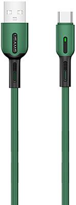 Фото - Кабель Usams SJ433 USB - Type-C с индикатором (1 м) силиконовый темно-зеленый (SJ433USB02) кабель usams u16 led usb type c черный sj287usb03