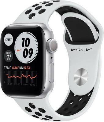 Смарт-браслет Apple Watch Series 6 40mm Silver Aluminium Case with Pure Platinum/Black Nike Sport Band (M00T3RU/A) умные часы apple watch series 6 40mm space gray aluminium case with anthracite black nike sport band m00x3ru a