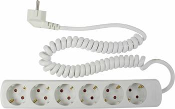 Удлинитель SCHWABE 6 розеток 2.5м витой кабель 3х1.5 250В 16А 3500Вт белый 11461 AS удлинитель schwabe 3 sockets 1 4m black 11362as
