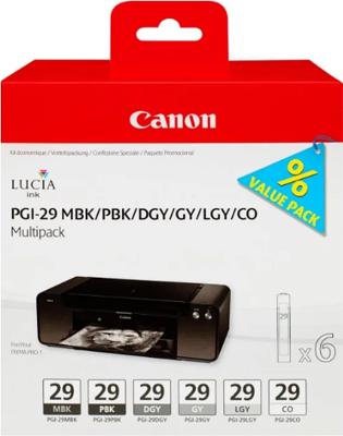 цена на Набор картриджей Canon PGI-29 MBK/PBK/DGY/GY/LGY/CO Multi 4868 B 018 Матовый чёрный фото-чёрный тёмно-серый серый светл