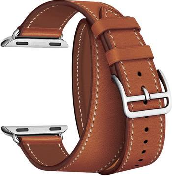 Ремешок для часов Lyambda в два оборота для Apple Watch 38/40 mm MERIDIANA LWA-01-40-BR Brown lyambda ремешок двойной кожаный meridiana для apple watch 38 40 mm черный