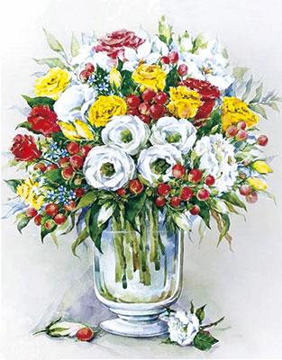 Фото - Алмазная мозаика Цветной ''Букет с красными ягодами'' (40х50) на подрамнике lg148 алмазная мозаика цветной букет нежных цветов 40х50 на подрамнике lg104