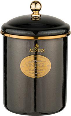 Банка Agness для сыпучих продуктов Agness эмалированная серия Тюдор 12 х 15см / 1 5 л чёрный металлик 950-261 agness банка для сыпучих продуктов тюдор 950 247 1200 мл белый