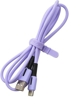 Фото - USB кабель Usams USAMS-SJ433 USB - Type-C с индикатором (1 м) силиконовый фиолетовый (SJ433USB04) кабель usb silver serpent type c rc 080a 1 м розовое золото