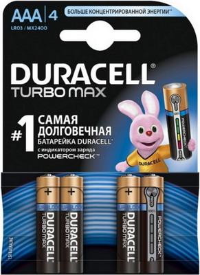 Батарейка Duracell LR 03/MX 2400-4BL TURBO MAX AAA аккумулятор duracell hr03 4bl 850 mah aaa 4 шт
