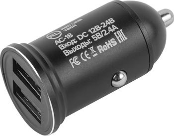 Автомобильное зарядное устройство Red Line Tech 2 USB (модель АС-18) 2.4А черный автомобильное зарядное устройство red line 2usb c20 2 1а ут000010219 черный