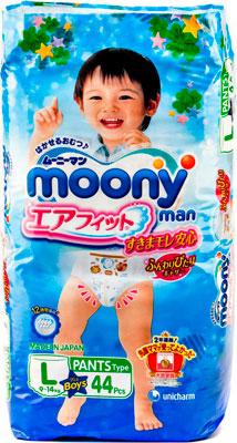 Трусики-подгузники Moony Man Трусики для мальчиков 9-14кг (L) 44 хаггис подгузники naturemade для мальчиков 4 10 14кг 42шт