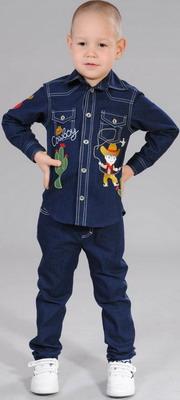 Рубашка Fleur de Vie 24-1860 рост 116 синий варежки для мальчика jack wolfskin fleece mitten kids цвет темно синий 1901871 1910 размер 116