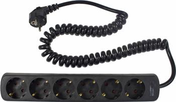 Фото - Удлинитель SCHWABE 6 розеток 2.5м витой кабель 3х1.5 250В 16А 3500Вт черный 11462 AS кабель