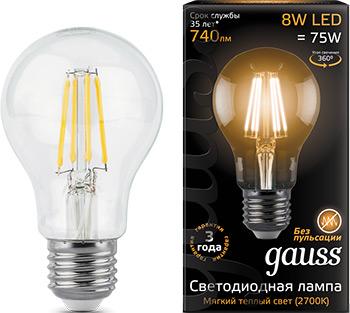 Лампа GAUSS LED Filament A 60 E 27 8W 740 lm 2700К 1/10/40 102802108 bm 60 3 e