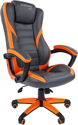 Кресло Chairman game 22 экопремиум серый/оранжевый 00-07023921