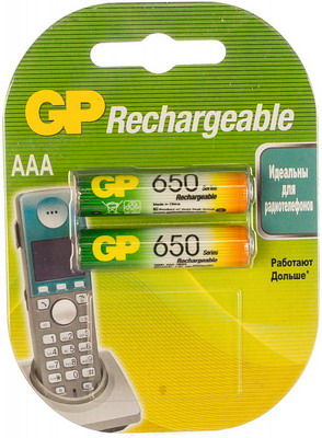 Фото - Аккумулятор GP AAA (мизинчиковые) 650mAh NiMH 2шт. 65AAAHC-2DECRC2 aaa аккумулятор gp 65aaahc 2 шт 650мaч