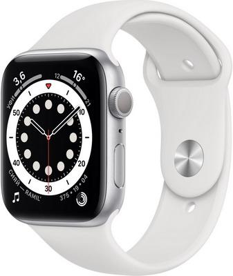 Умные часы Apple Watch Series 6 44mm Silver Aluminium Case with White Sport Band (M00D3RU/A) умные часы apple watch series 6 gps 44mm aluminum case with sport band white серебристый белый