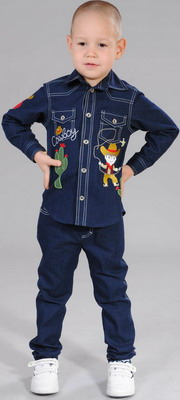 Фото - Рубашка Fleur de Vie 24-1860 рост 122 синий брюки fleur de vie 24 2182 рост 122 черные
