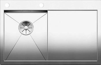 Кухонная мойка BLANCO ZEROX 4S-IF/А (чаша слева) нерж. сталь зеркальная полировка с клапаном-автоматом 521622 мойка кухонная blanco lantos 9e if полированная нерж сталь с клапаном автоматом 516277