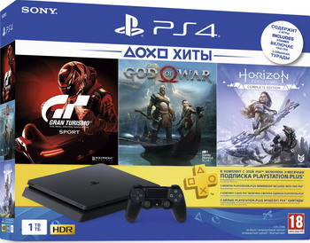 Игровая приставка Sony PlayStation 4 1TB Black + Gran Turismo Sport Horizon Zero Dawn CE и GOW подписка PS+ на 3 месяца игровая консоль sony playstation 4 slim 1tb black cuh 2208b gran turismo sport god of war horizon zero dawn ce psn 3 месяца