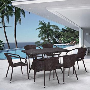 Комплект мебели Афина T 198 D/Y 137 C-W 53 Brown 6Pcs