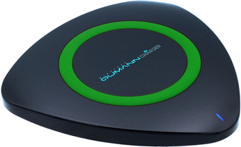 Фото - Беспроводное ЗУ Qumann QWC-01 Wireless Delta Qi Charger Black/Green ring 50513 беспроводное зарядное устройство qumann qwc 01 wireless delta qi charger white blue