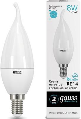 Лампа GAUSS LED Elementary Свеча на ветру 8W E14 540lm 4100K 34128 Упаковка 10шт лампа светодиодная gauss e14 8w 4100k матовая 34128