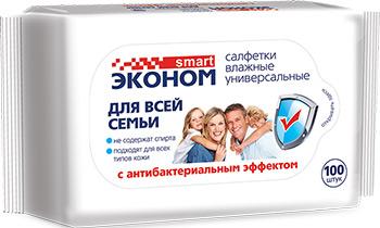 Салфетки влажные антибактериальные Эконом smart №100 30258 влажные салфетки эконом smart набор влажные салфетки детские эконом smart 120 2 шт