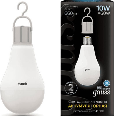 Фото - Лампа GAUSS LED A60 10W E27 660lm 4100K с Li-Ion аккумулятором лампа светодиодная gauss 102502210 s led a60 10w e27 4100k step dimmable 1 10 50