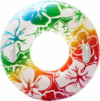 Надувной круг Intex Прозрачный с ручками круг для плавания детский intex ocean reef 61см 59242
