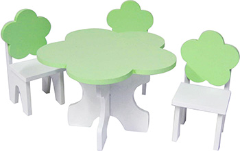 Набор кукольной мебели Paremo для кукол ''Цветок'': стол стулья цвет: белый/салатовый