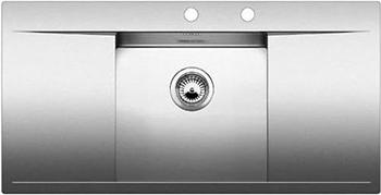 Кухонная мойка BLANCO FLOW 5S-IF нерж. сталь зеркальная полировка с клапаном-автоматом 521637 мойка кухонная blanco lantos 9e if полированная нерж сталь с клапаном автоматом 516277