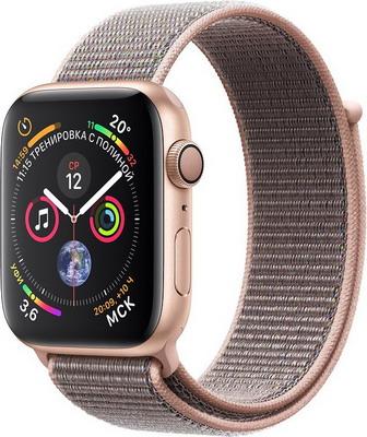 Часы Apple Watch Series 4 GPS 40 mm Gold Aluminium Case with Pink Sand Sport Loop (MU 692 RU/A) часы apple watch series 4 gps 44 mm gold aluminium case with pink sand sport band mu6f2ru a