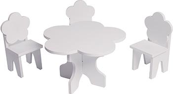 Набор кукольной мебели Paremo для кукол ''Цветок'': стол стулья цвет: белый