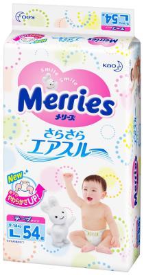 Подгузники Merries Air Through 9-14 кг L 54шт подгузники merries air through l 9 14 кг 54 шт [359602]