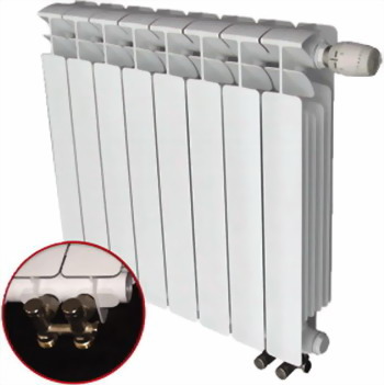 Водяной радиатор отопления RIFAR B 500 10 сек НП лев (BVL) биметаллический радиатор rifar рифар b 500 5 сек кол во секций 5 мощность вт 1020
