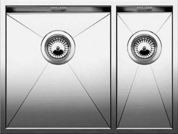 Кухонная мойка Blanco ZEROX 340/180-U (чаша слева) нерж. сталь зеркальная полировка без клапана авт 521613 кухонная мойка blanco zerox 700 u нерж сталь зеркальная полировка без клапана авт 521593