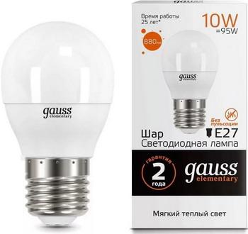 Лампа GAUSS, LED Elementary Шар 12 W E 27 3000 K 53212, Китай  - купить со скидкой