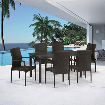 Комплект мебели Афина T 256 A/Y 379 A-W 53 Brown 6Pcs