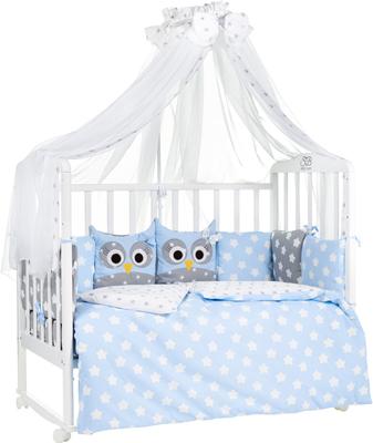 Комплект в кроватку Sweet Baby Uccellino Blu (Голубой) 7 пр. 424 463 матрас в кроватку sweet baby cocos classic 119х59х6